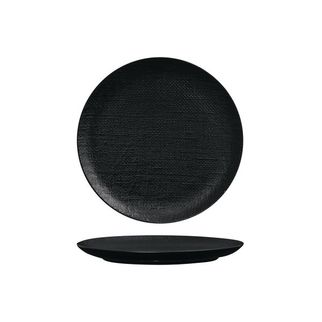 Picture of Luzerne Linen Black Round Flat Coupe Plate 210mm
