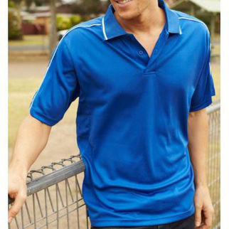 Picture of Mens Breezeway Striped Polo Medium Navy/Gold