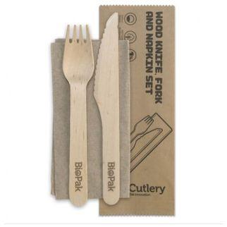 Picture of NEW Coated Wood Knife, Fork & Napkin Set 16cm