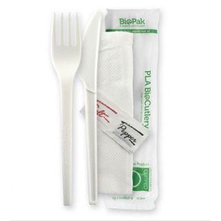 Picture of PLA Knife, Fork and Napkin Set Knife - Salt & Pepper incl