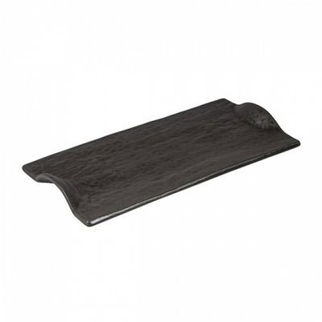 Picture of Rectangular Plate With Handle Charcoal 310mm