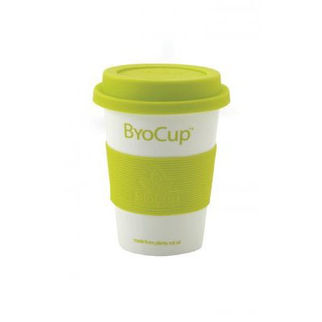 Picture of Reusable Byo Cup 12oz Branded White with Green Band and Lid