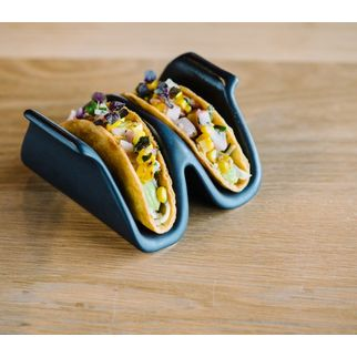 Picture of Santo Alessi Taco Holders Satin Black TWO 140 x 125 x 60mm