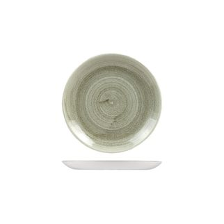 Picture of Stonecast Patina Burnished Green Round Coupe Plate 165mm