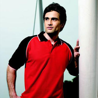 Picture of Three Tone Polo Large Red/Black/White