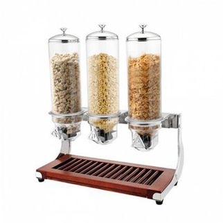 Picture of Triple Cereal Dispenser With Wood Base 3 x 4L Dispensers