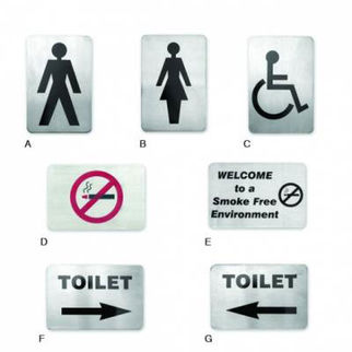 Picture of Wall Sign 18 10 120x80mm  toilet left arrow