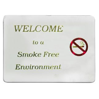 Picture of Wall Sign Welcome To A Smoke Free Environment Gold On White