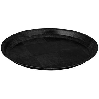 Picture of Woven Wooden Round Tray Black 250mm